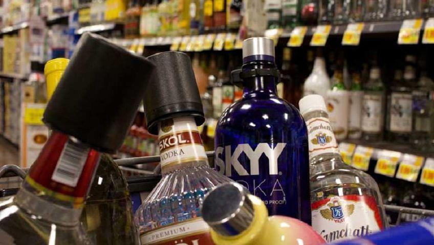 Отдел алкоголя в магазине