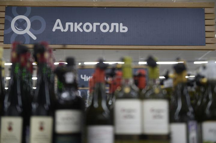 Отдел алкоголя в супермаркете