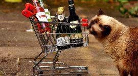 Тележка для покупок с алкоголем